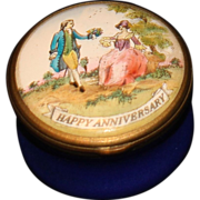 Halcyon Day Enamel Happy Anniversary Box