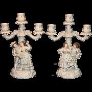 Triebner, Ens & Eckert Volkstedt Dresden Figural Candelabrums