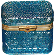 French Aquamarine Patterned Glass Jewelry Casket