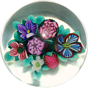 Vintage Ken Rosenfeld Strawberry and Flowers Lampwork Paperweight