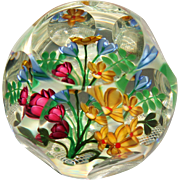 Perthshire Faceted Paperweight-Multidimensional Flowers on Lattice Background
