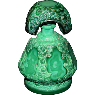 Lovely Czech Art Nouveau Green Malachite Perfume
