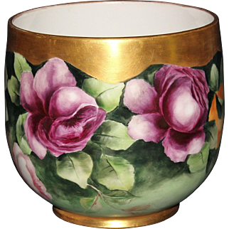 Artist Signed Guerin Limoges Roses Jardiniere