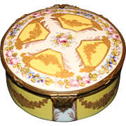 Fancy Sevres Trinket Box with Ormolu Clasp and Trim