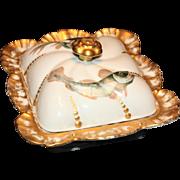 Lovely Lanternier Limoges Handpainted Covered Sardine Dish or Box, c 1880's