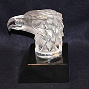 Lalique 'Tete d'aigle' Eagle Head Paperweight / Hood Ornament On Base