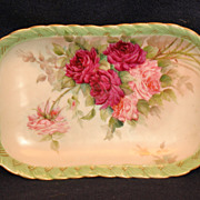 Hand Painted Haviland Limoges Roses Relish