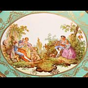 """Vintage Sevres Style Artist Signed & Framed 19"""" Plaque"""