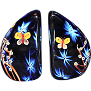 Stunning Joseph Morel/Zellique Studio Butterfly Paperweight Bookends