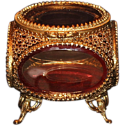 Brass & Beveled Glass Jewelry Casket/Box