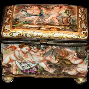 Vintage Capodimonte Box With Putti/Cherubs
