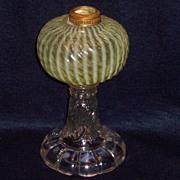 Buckeye Glass Sheldon Swirl Canary Vaseline Oil Lamp