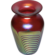 Steven Correia Red & Gold Pulled Feather Art Glass Vase