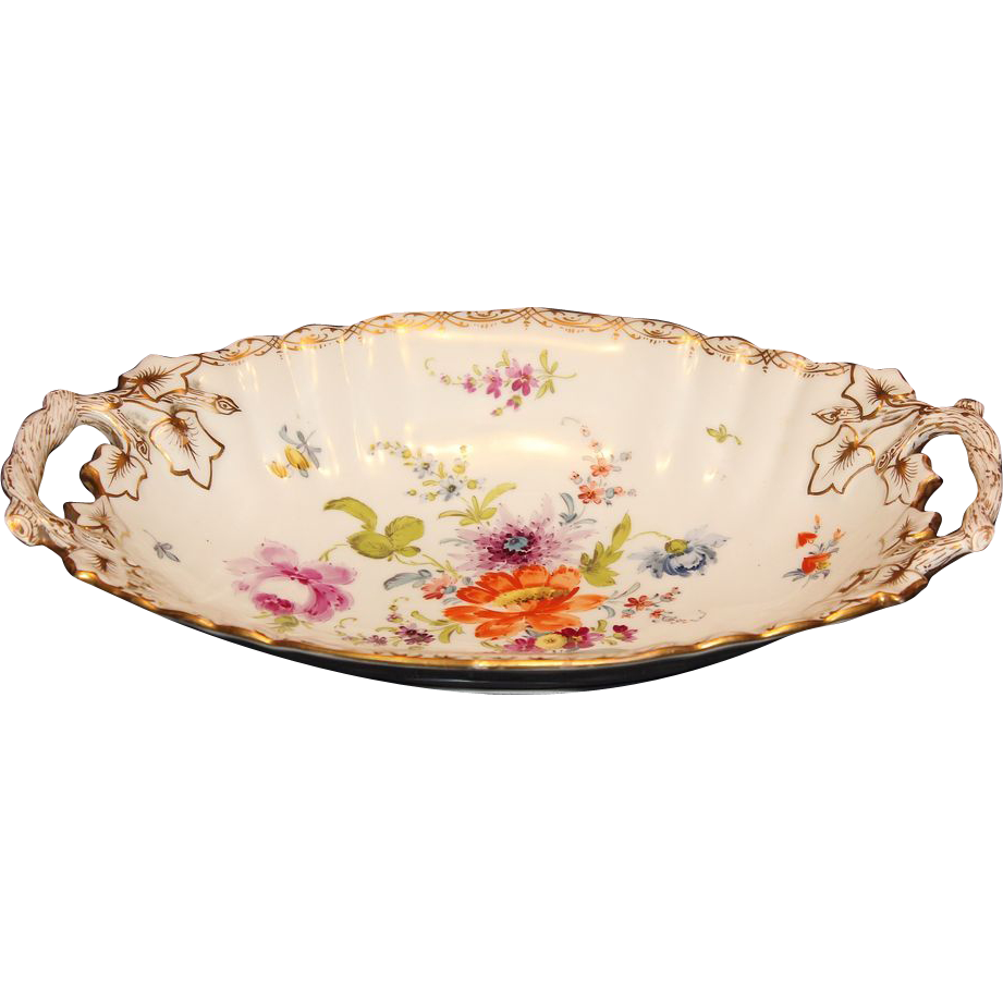 Richard Klemm Dresden Handled Bowl From Mosaics On Ruby Lane