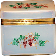 Large Opaline Enamaled Casket or Box With Grape Clusters