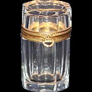 Antique Baccarat Cut Crystal Casket or Box With Fancy Ormolu Trim