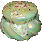 Fenton Wavecrest Green Bon-Bon Jar or Box