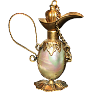 Antique Mother Of Pearl And Ormolu Brass Ewer Perfume of Snuff Bottle