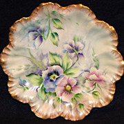 Hand Painted LImoges Pansies Plate