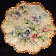 Hand Painted Limoges Plate with Pansies
