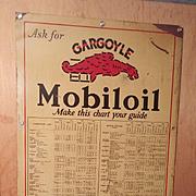 Rarest of Rare With actual Chart of Mobiloil Gargoyle Motor Oil  Metal Sign