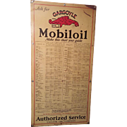 Rarest of Rare With actual Chart of Mobiloil Gargoyle Motor Oil  Metal Sign