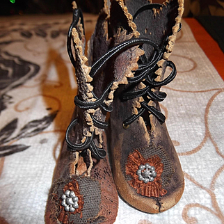 Antique French EJ Doll Shoes, signed