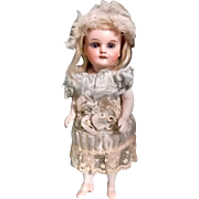 German All-Bisque Miniature Doll with Fancy Peach Shoes