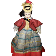 Italian Felt Miniature Doll by Lenci with Yellow Bonnet