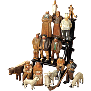 Collection of German Carved Wooden People and Animals, on Display Ladder