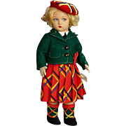 "14"" Italian felt ""Scottish Girl"" by Lenci in UnPlayed with Condition!"