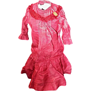 Antique Ruby Red Bru Dress for Petite Bru, Jumeau Steiner
