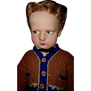 "Lenci Doll 17"" Pouty Sweater boy and also known as School Boy 300 Series All Original c.1930"