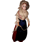 French Bisque Poupee by Gaultier with original folklore costume