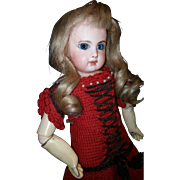 Antique Red Croucheted Dress for Petite Doll