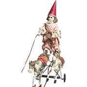 Delightful French Pull Toy- Acrobatic riding atop his horses!