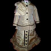 Large Fine Quality Couture Fashion Dress for your Jumeau, Bru, Barrois, With antique underwear, purse, corset.