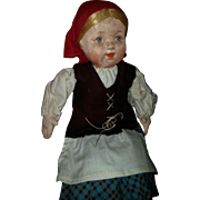 Antique Cloth Doll Collection, Rare stockinette Soviet Union Girl!