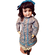 Grand German Bisque Closed Mouth Child, by Kestner Couture Costume