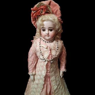 Elegante Fashion Lady by Kestner, Beautiful Antique Silk Rose Costume Sweet Expression!