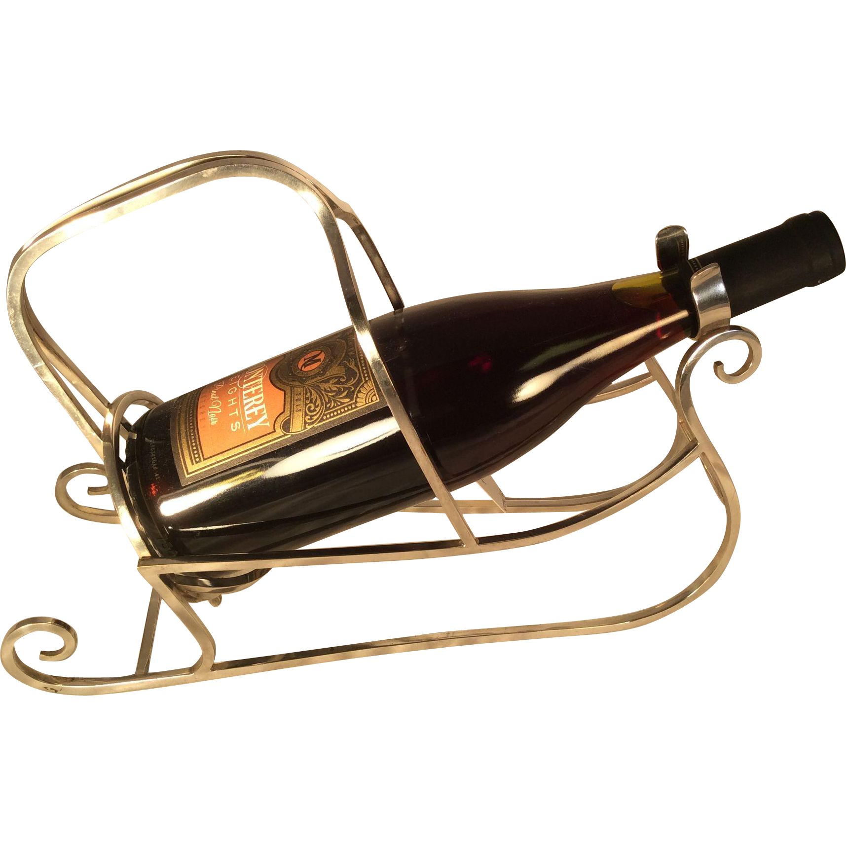 Silver Plated Sleigh Shaped Wine Cradle