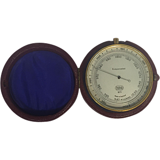 English Pocket Barometer with Leather Case