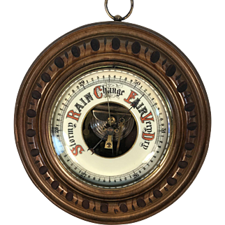 English Walnut Aneroid Barometer