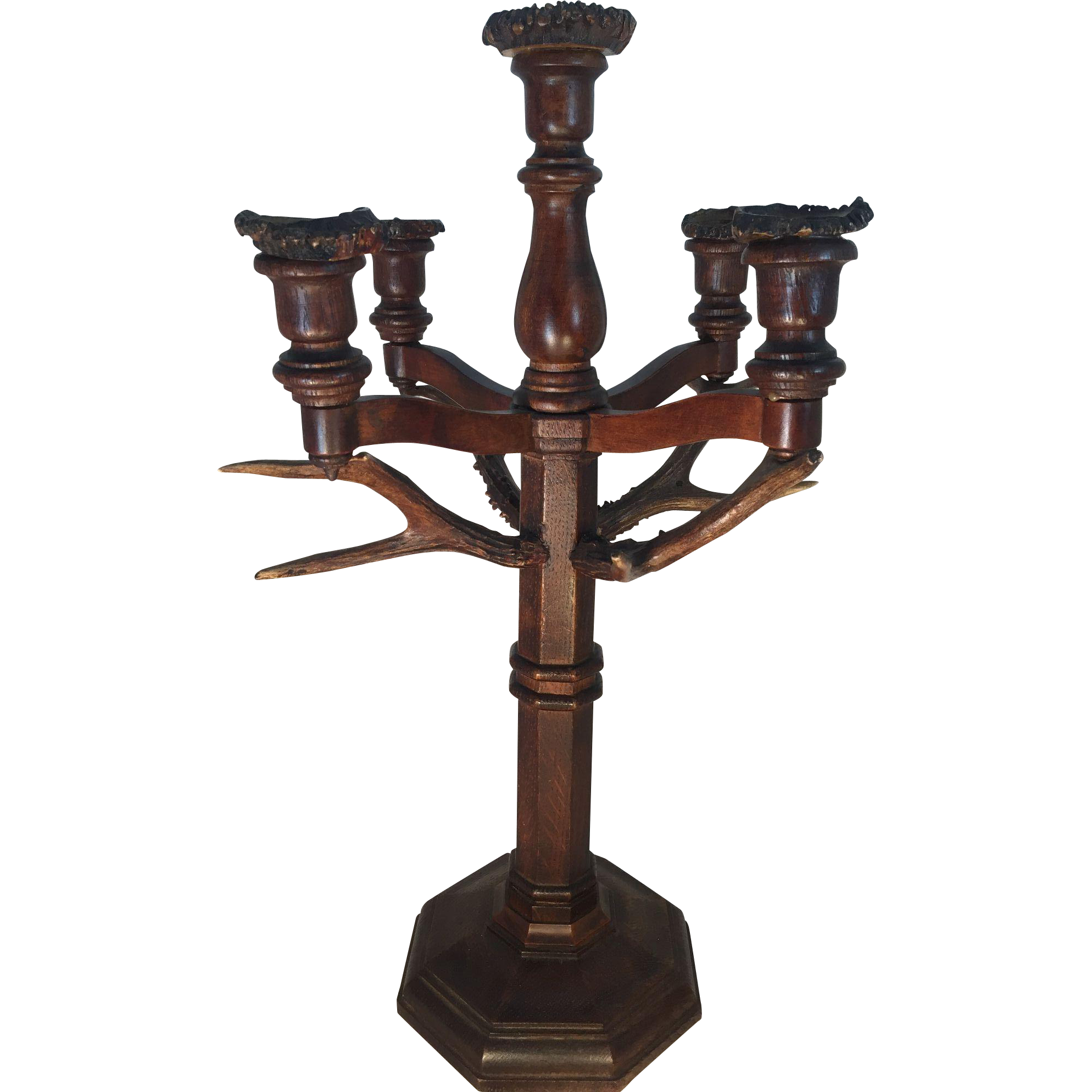 Black Forest Carved Wood and Antler Candelabra