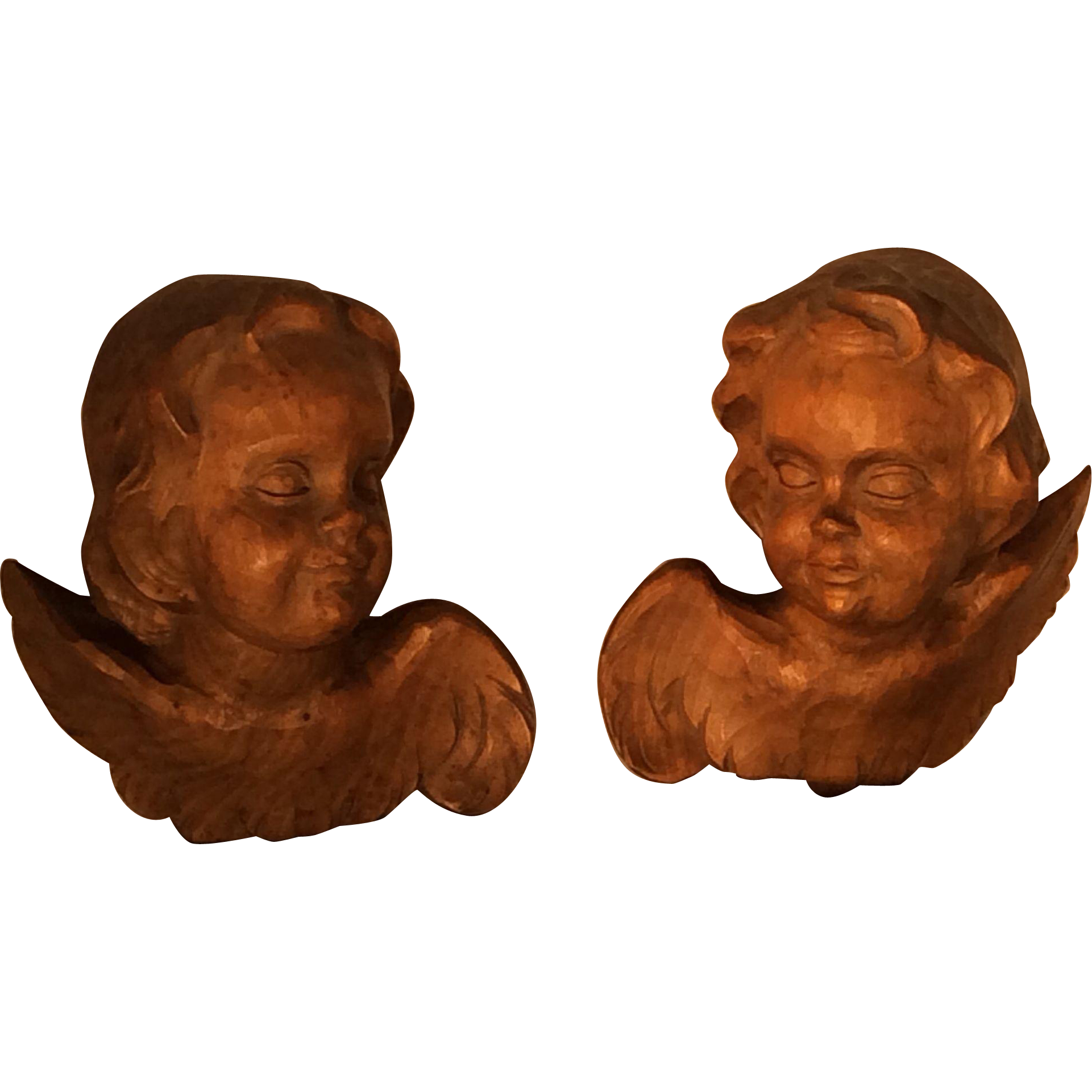 Pair of Hand Carved Wooden Cherubs