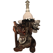 Black Forest Schnappes Bear with Decanter and Six Glasses