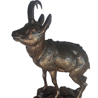 Black Forest Walnut Chamois Antelope Figure