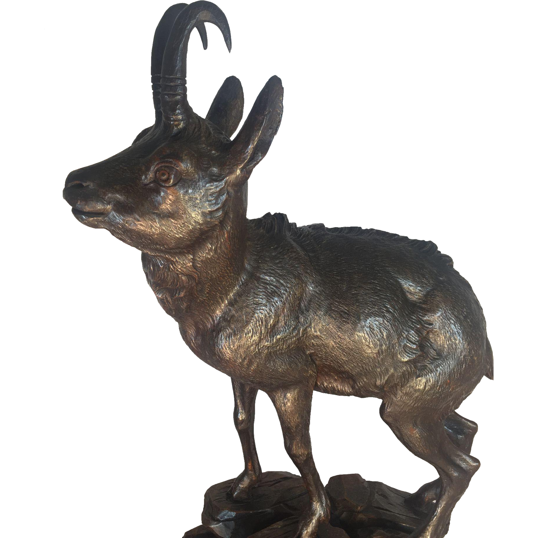 Black Forest Walnut Chamois Antelope Figure