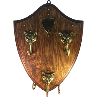 English OAK and Brass Fox Crop/Hat/Key Rack