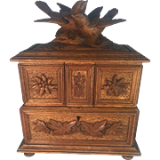 Black Forest Jewelry Box with Bird Decoration